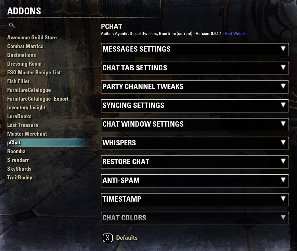 Add-on settings