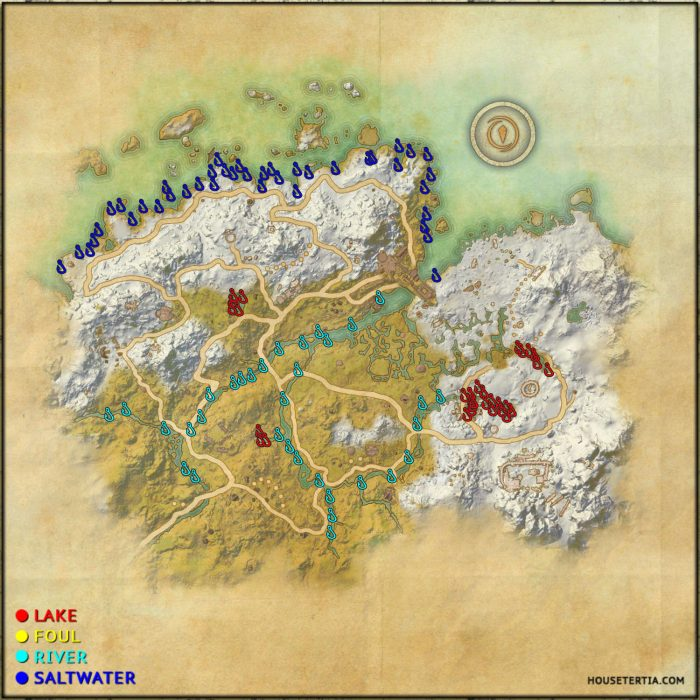 ESO Fishing Map: Western Skyrim